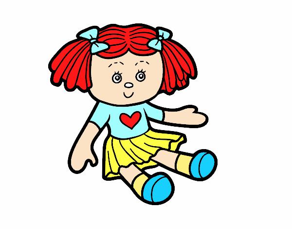 Desenho De Boneca De Brinquedo Pintado E Colorido Por