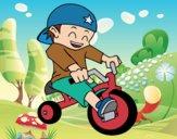 Desenho Menino em triciclo pintado por Craudia