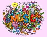 Desenho Colagem musical pintado por Craudia