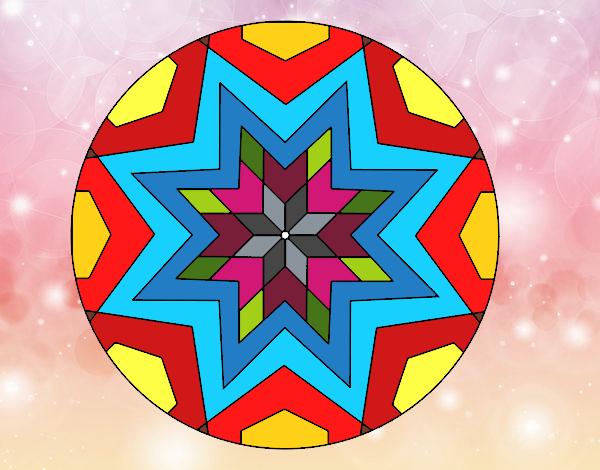 desenho de mandala mosaico estrela pintado e colorido por smoky o