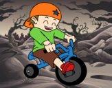 Desenho Menino em triciclo pintado por anaCFAIAL