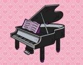 Desenho Um piano de cauda aberto pintado por vanalb
