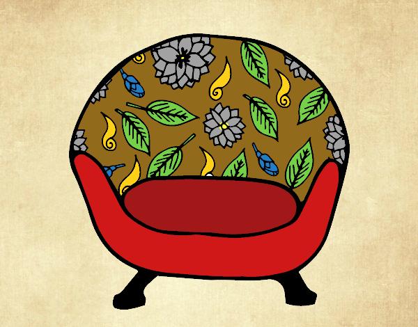 Desenho de poltrona vintage pintado e colorido por usu rio for Sala de estar retro vintage