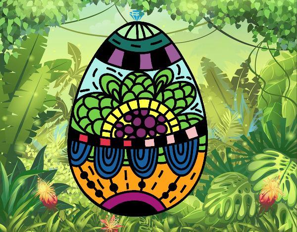 Desenho Um ovo de páscoa floral pintado por luzinda