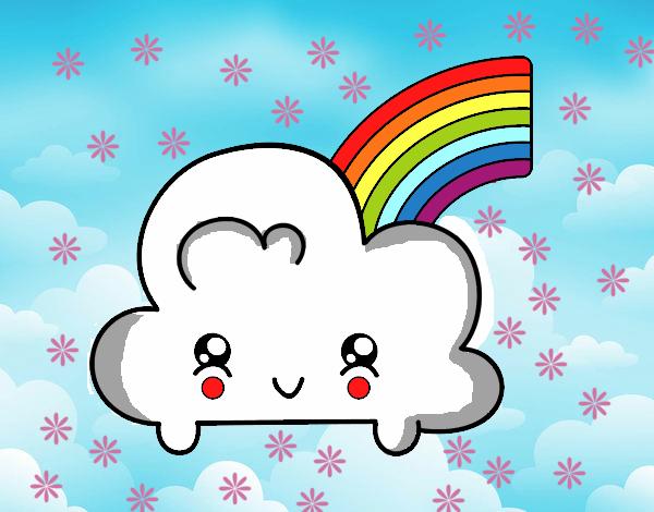 Desenho De Nuvem Com Arco-íris De Kawaii Pintado E