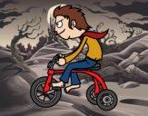 Desenho Rapaz no triciclo pintado por Craudia
