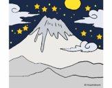 Desenho Monte Fuji pintado por ceciliaz