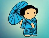 Gueixa com guarda-chuva