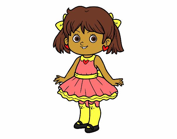 Desenho De Menina Com Vestido Moderno Pintado E Colorido