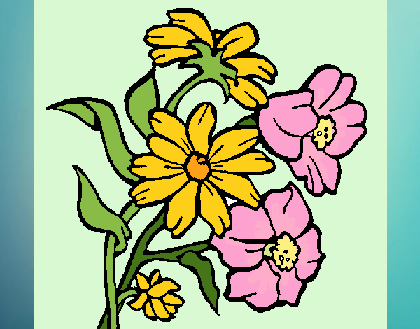 Desenho Flores pintado por Craudia
