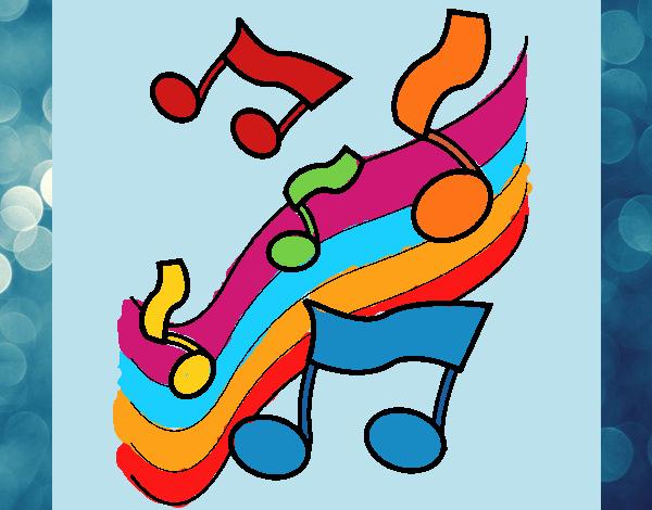 Desenho Notas na escala musical pintado por Craudia
