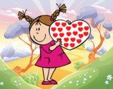 Desenho Menina com coração pintado por Craudia