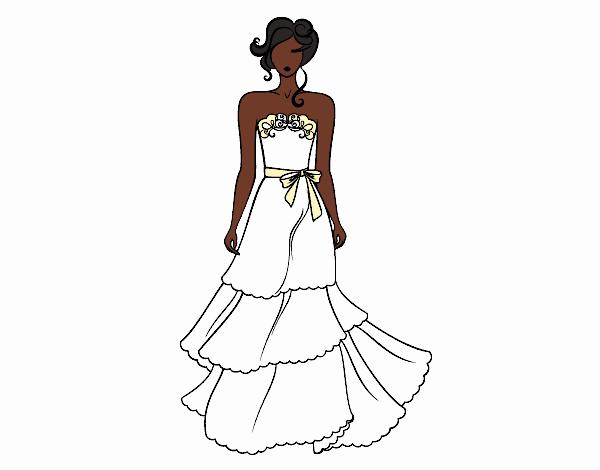 desenho de vestidos de casamento sem alças pintado e colorido por