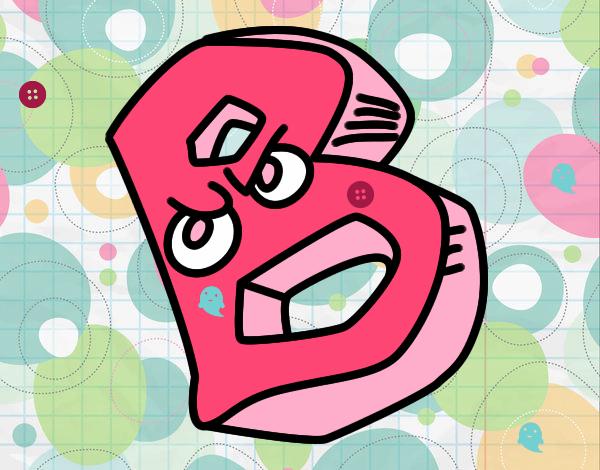 desenho de letra b pintado e colorido por usuário não registrado o