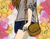 Desenho Menina com saco pintado por vitoria160
