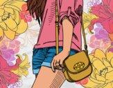 Desenho Menina com saco pintado por Craudia