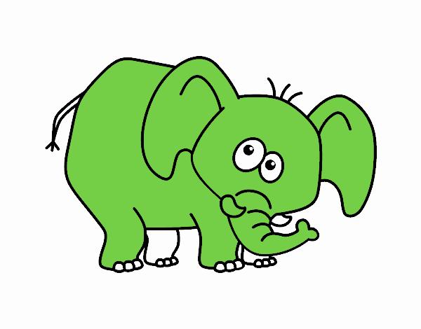 desenho de elefante envergonhado pintado e colorido por usuário não