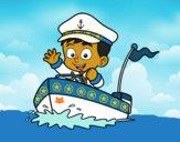 Desenho Barco e capitão pintado por Jujuli