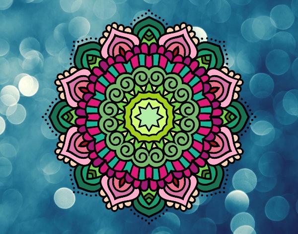 Desenho Mandala estrela decorada pintado por ceciliaz