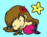 Pequena sereia chibi dromindo