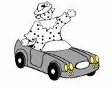 Boneca em carro descapotável