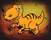 Desenho Dinossauro velociraptor pintado por salomao