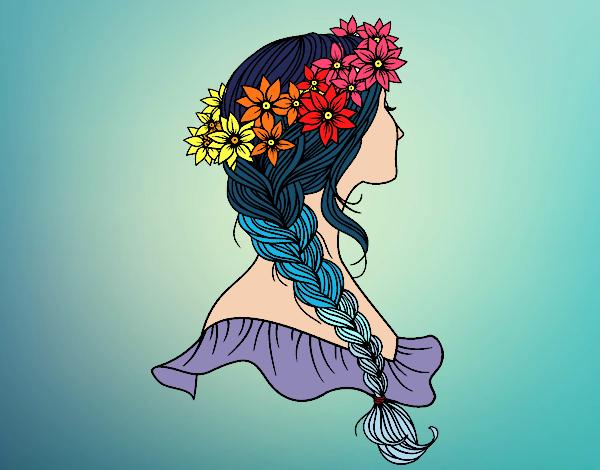 Desenho Penteado com trança pintado por Bianca99