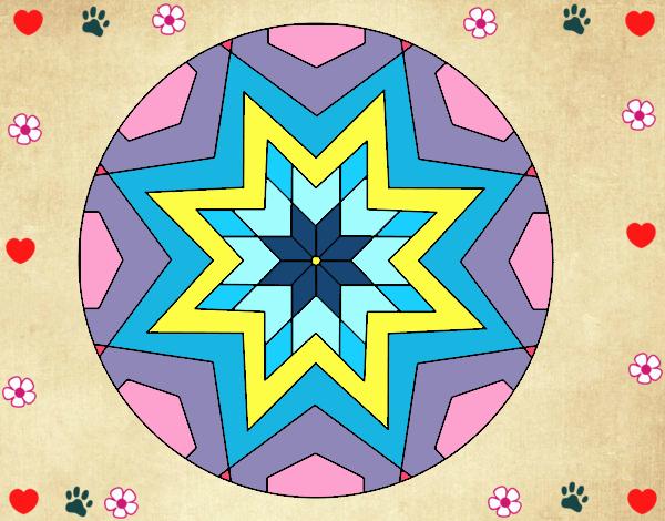 Desenho Mandala mosaico estrela pintado por Mayumicris