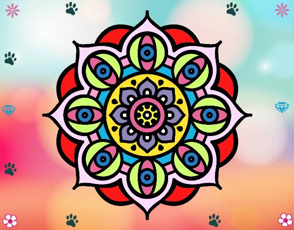 Desenho Mandala olhos pintado por Mayumicris
