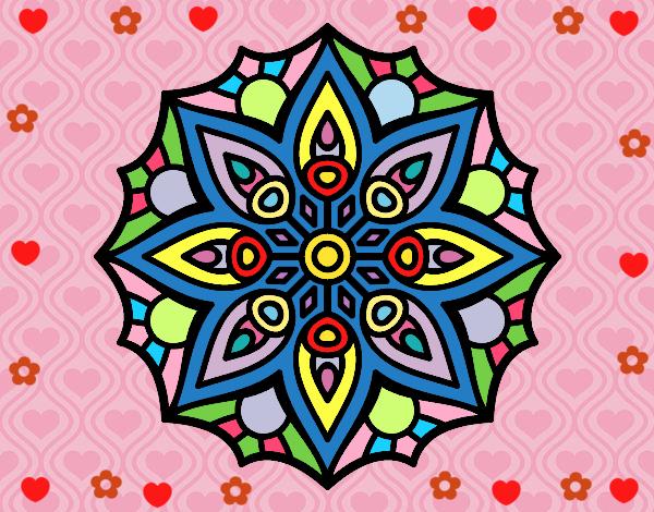 Desenho Mandala simetria simples pintado por Mayumicris