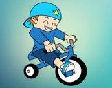 Desenho Menino em triciclo pintado por Jujuli