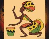 Desenho Mulher com tambor pintado por Craudia
