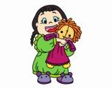 Desenho Menina com boneca pintado por teia72