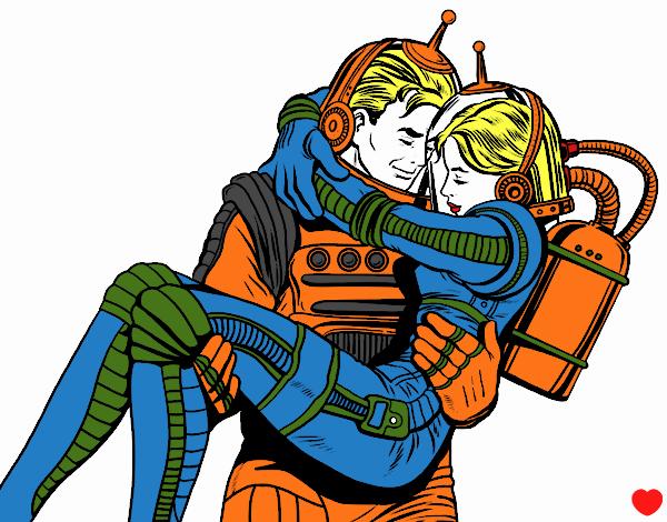 Desenho Astronautas apaixonados pintado por luzinda