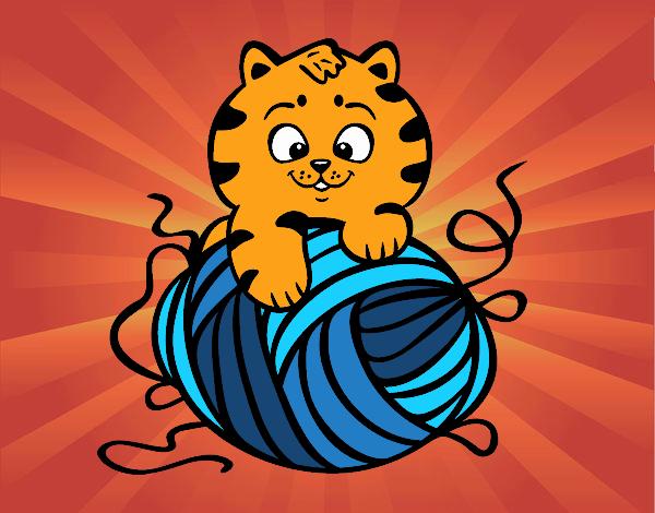 Desenho Gato com un novelo de lã pintado por luanah