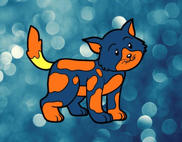 Desenho Gato solitário pintado por luzinda