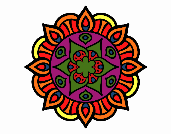 Desenho Mandala vida vegetal pintado por luzinda
