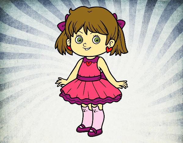 Desenho Menina com vestido moderno pintado por luanah