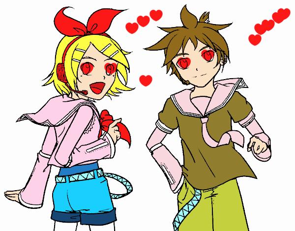 Desenho Rin y Len Kagamine Vocaloid pintado por Anna_blogs