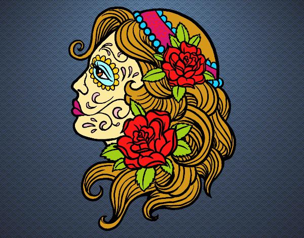 Desenho Tatuagem de Catrina pintado por luanah