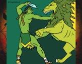 Desenho Gladiador contra leão pintado por miguelms