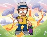 Desenho Rapaz com skate pintado por Craudia