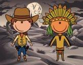 Desenho Vaqueiro e índio contentes pintado por Craudia