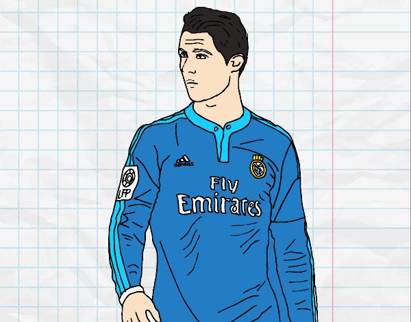 Desenho Cristiano Ronaldo pintado por Mayumicris