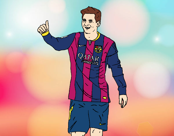 Desenho Messi Barça pintado por Mayumicris