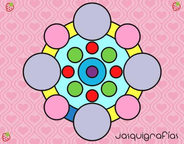 Desenho Mandala com rodadas pintado por Mayumicris