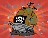 Desenho Navio de piratas pintado por emillyh