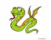 Desenho Serpente com asas pintado por LadyMcm