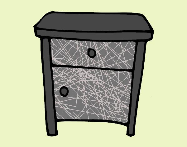 Desenho Mesa de cabeceira pintado por bielle