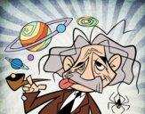 Desenho Albert Einstein pintado por Craudia